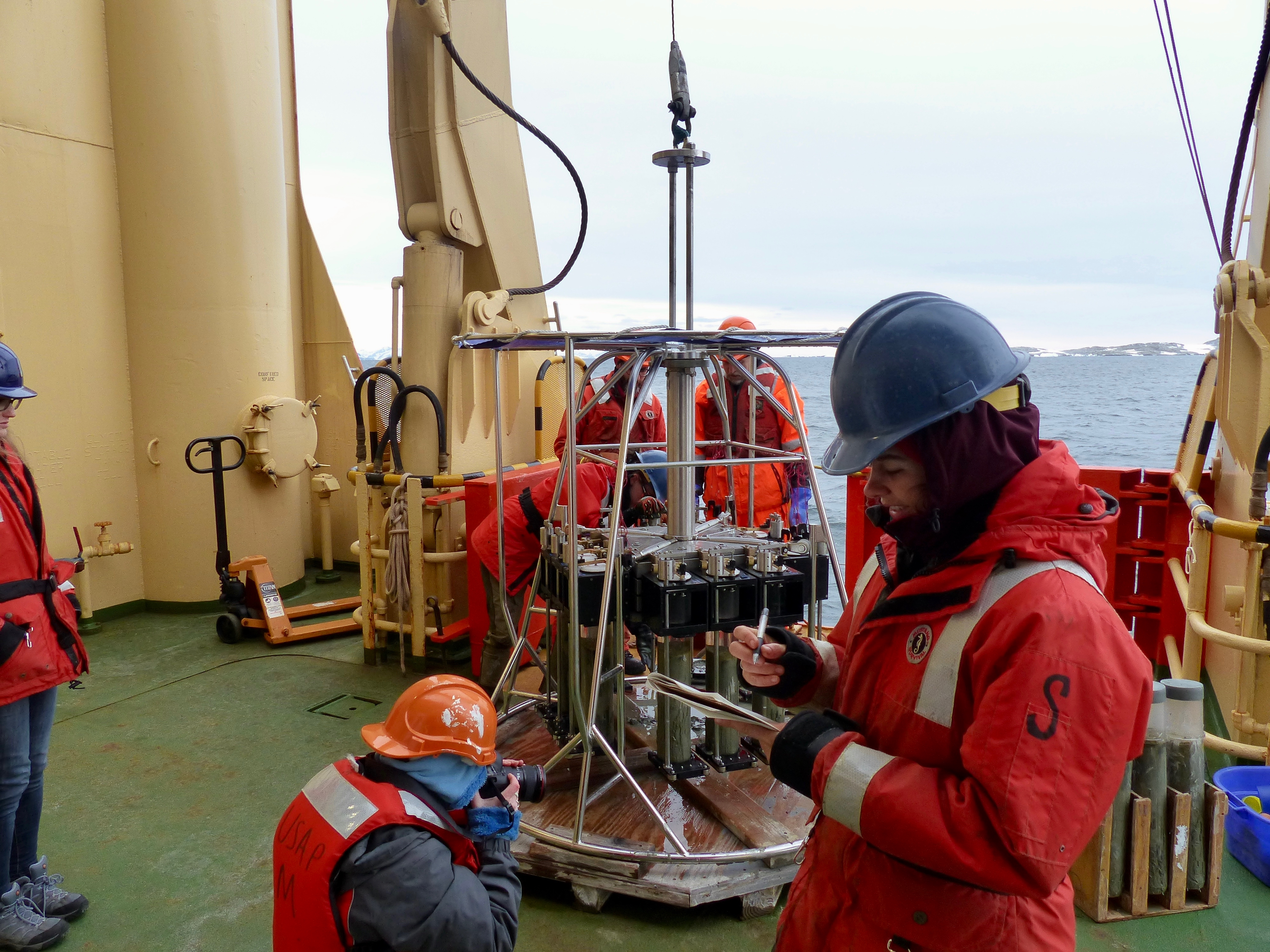 The Megacore has just been brought back from the seafloor with 11 successful sediment cores.