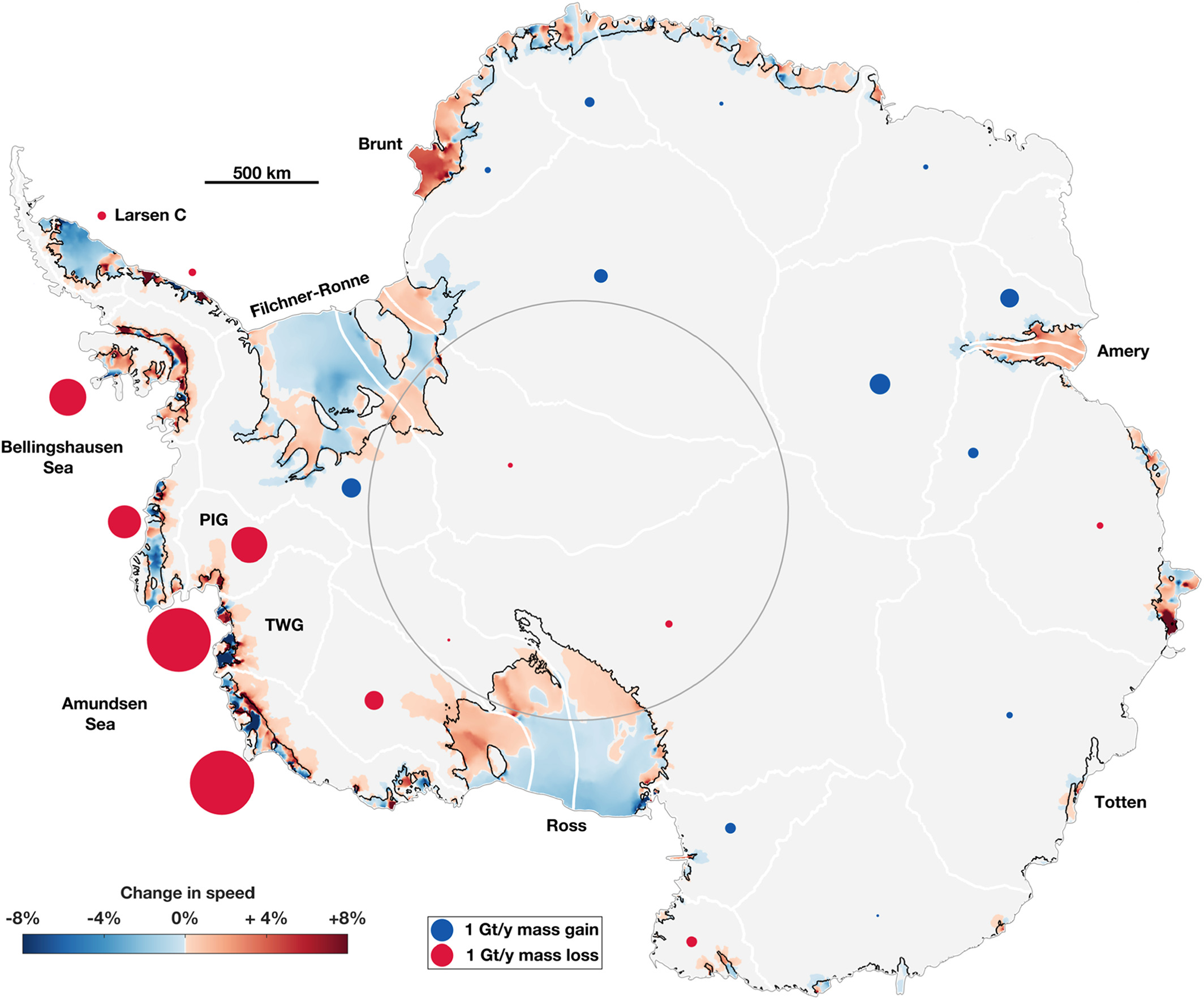 Instantaneous changes in ice velocities and grounding‐line fluxes due to ice shelf thinning (1994–2012).