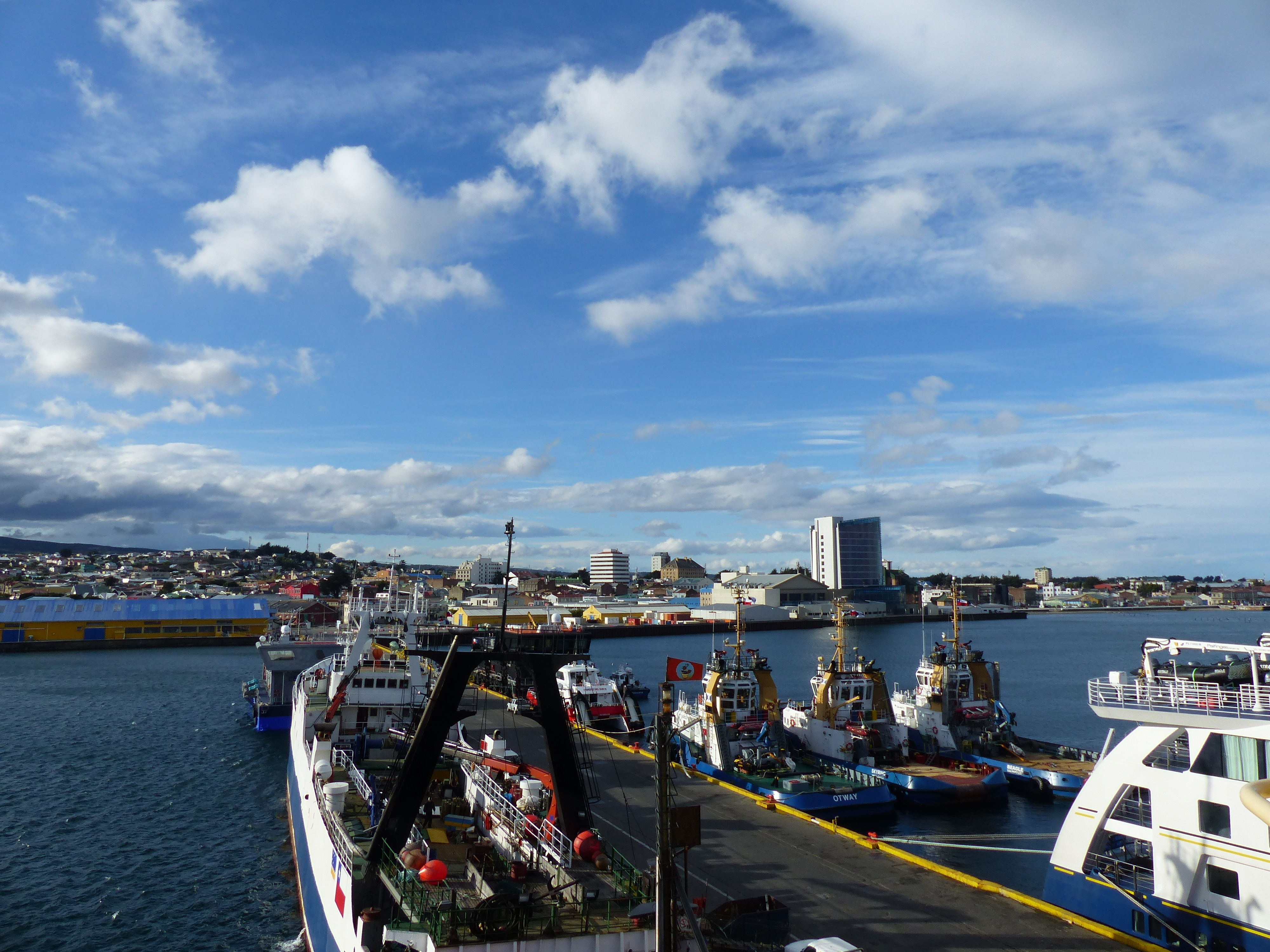 A view of Punta Arenas, Chile, from the deck of the Palmer