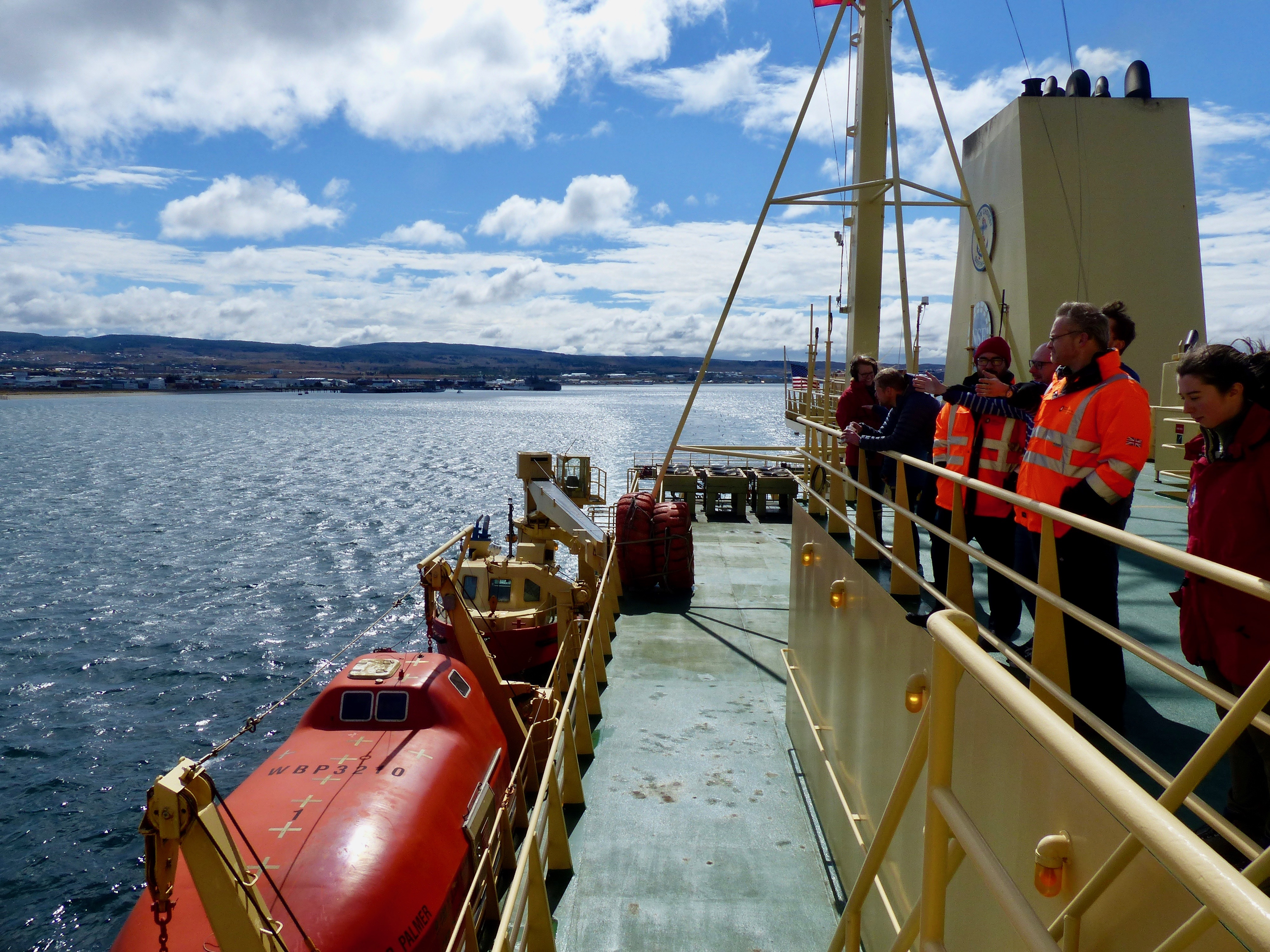 The Palmer departs Punta Arenas on its voyage.