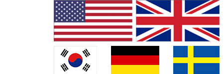Flags of US, UK, South Korea, Germany, and Sweden