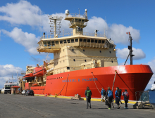 The Nathaniel B. Palmer research vessel docked in Punta Arenas, Chile. Photo courtesy of Tasha Snow.