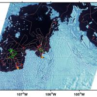 Map of ship tracks over the Amundsen Sea