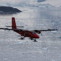 A Twin Otter aircraft tests instruments near Rothera Station, Antarctica. Photo credit: Andrew Van Kints, BAS