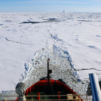 The Nathaniel B. Palmer icebreaking en route to Rothera. Photo credit: Linda Welzenbach/Rice University