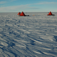 Tents on the Antarctic ice. Credit: BAS News