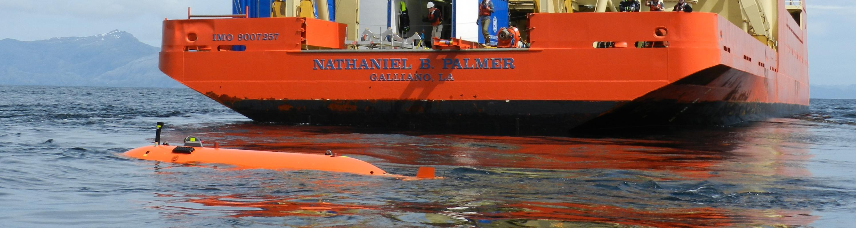 After a successful release from the Palmer, the AUV sits for 10 minutes at the surface to fill with water before heading off on its four hour test mission in the Straits of Magellan