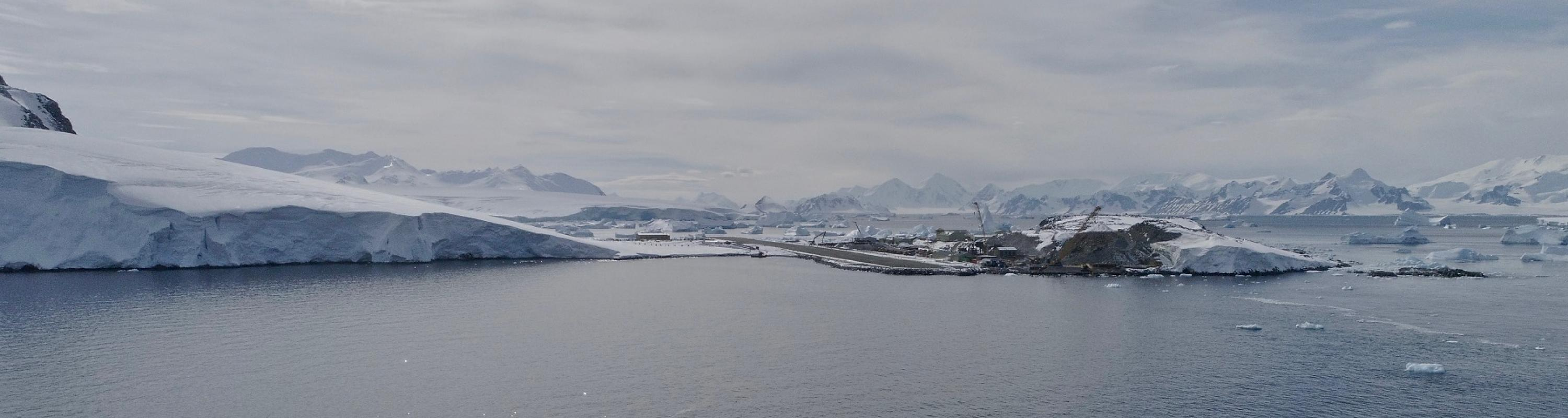 View of Rothera Station from a drone above the Nathaniel B. Palmer. Photo credit: Aleksandra Mazur